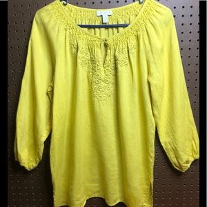 Charter Club Bright Yellow Embroidered Top, sz 12